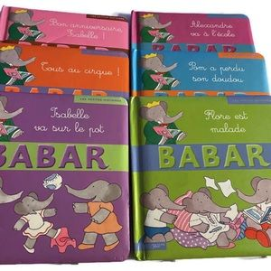 Lot of 6 Babar children books  (French Edition).